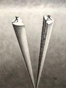 Teilung, ca A4, Bleistift auf Papier