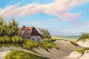Das Haus in den Dünen, 40x60, Acryl auf Leinwandplatte