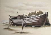 Fischerboot-Studie, 40x50, Öl auf Malplatte