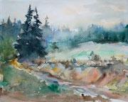 Weg zum Wald, 30x40, Aquarell auf Papier