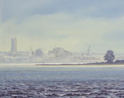 Wismar im Nebel, 40x50, Öl auf Leinwandplatte