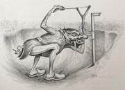 Heckenschütze-Karikatur, A3, Bleistift auf Papier