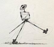 Wandersmann-Karikatur, ca A4, Tuschestift, Bleistift