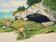 Die Höhle(Illustration), 30x40, Gouache auf Papier
