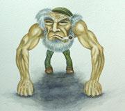 Silberrücken (Karikatur), ca A3, Aquarell, Tuschestift