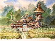 Befriedeter Panzer, 30x40, Aquarell auf Papier