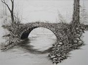 Die vergessene Brücke, 30x40, Buntstift auf Papier
