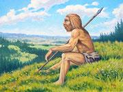 Neandertaler, 30x40, Öl auf Leinwandplatte