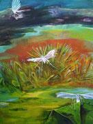 Sumpfgeister  / Acryl-Gouache auf Leinwand, 70 x 50 cm, 2014