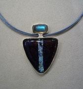Anhänger,Silber 925/000, Dichroic Fusing Glas, Labradorit-Cabochon