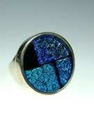 Ring, Silber 925/000, Dichroic Fusing Glas
