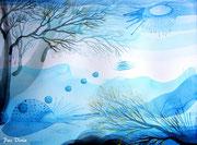 """winter trees"" series, 2015, contemporary watercolor"