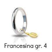 Fede Unoaerre Classica Oro Bianco 4 Grammi mm 3,0 Francesina Referenza: 40 AFN4B