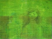 Green beauty, woodprint / Holzdruck und Kaltnadelradierung, paper / Paper, 26,5 x 39 cm, 2013