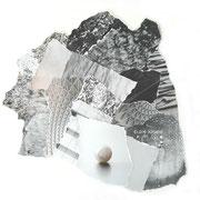 Pearl, Papiercollage, 30 x 26 cm (gerahmt), 2019