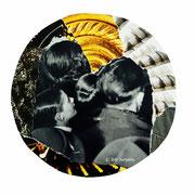 Stargazer, Papiercollage, 22 x 22 cm (gerahmt), 2020