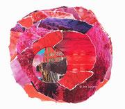Red end, Papiercollage, 32 x 32 cm (gerahmt), 2019