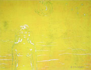 Yellow beauty, woodprint / Holzdruck, paper / Papier, 26,5 x 39 cm, 2013