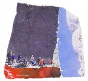 Eisberg, Papiercollage, 17,5 x 17,5 cm (gerahmt), 2017