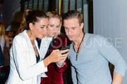 Monica Ivancan, Pete Dwojak und Jana Ina Zarella beim Ernsting's Family Fashion Dinner   © Fotograf Karsten Lauer / photolounge-lauer.de
