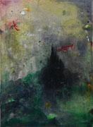 Turris Mundi I, 100x73 cm, mixed media on canvas, 2020