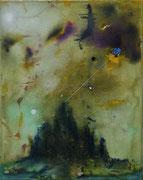 Insula Mortem (n. Böcklin), 50x40 cm, mixed media on canvas, 2020