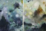 Quinta Essentia, diptych, each 150x100 cm, mixed media on canvas, 2020