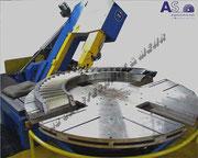 Vertikalbandsäge zum trennen von Turbinenschaufeln