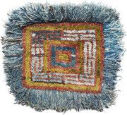 Wangden Drumze ( big knot), monastic seating rug, Tsang Region, Central Tibet,  2. half 19th century, 87 x 91 cm