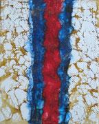 Schellack-Technik weiß, rot, blau