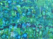 Schellack-Technik in blau, grün