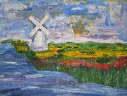 Landschaft mitWindmühle, gespachtelt