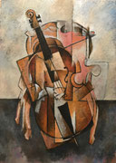 CELLO ON PINK ARMCHAIR - Oil on canvas - 92x65cm - 2016