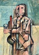 BEVEDOR DE VI - Oli sobre llenç - 46cmx33cm. - 2'017. (Col·lecció privada a Sydney. AUS)