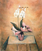 ORQUÍDIA WITH PINK PAPER - Oil on canvas - 100x81 cm. 2013. Private collection in Castelló.