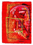"""""""Ikone 3"""" / WVZ 3.000 / datiert 07/00 / Kreide und Tusche auf rotem Japanpapier / Maße b 21,0 cm * h 29,7 cm"""