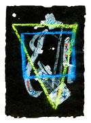 """""""Ikone 1"""" / WVZ 2.998 / datiert 07/00 / Kreide und Tusche auf schwarzem Japanpapier / Maße b 21,0 cm * h 29,7 cm"""
