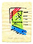 """""""Ikone 4"""" / WVZ 3.001 / datiert 07/00 / Kreide und Tusche auf verschiedenfarbigem Japanpapier / Maße b 21,0 cm * h 29,7 cm - (Arbeiten """"Ikone 4"""" verkauft an Wolfgang Wankum, Soltau) -"""