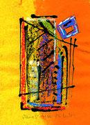 """""""Ikone 5"""" / WVZ 3.002 / datiert 07/00 / Kreide und Tusche auf verschiedenfarbigem Japanpapier / Maße b 21,0 cm * h 29,7 cm - (Arbeiten """"Ikone 5"""" verkauft an Wolfgang Wankum, Soltau) -"""