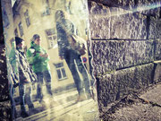 Dreharbeiten mit Schauspielern in der Dresdner Neustadt