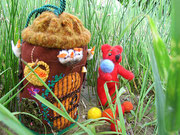 Медведь и его домик. Сухое валяние, аппликация, вышивка.Подарок для дочери