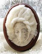 Маска из серии времена года. Зима. Гипс, текстиль. Собственность автора