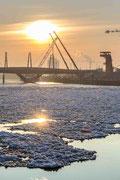 Fröhliches Eistreiben - Eisschollen auf der Elbe
