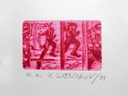 """Aus dem Zyklus """"Ttelefon"""", 2001, Kaltnadelradierung auf Telefonkarte"""