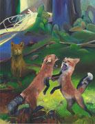 Fuchsreigen, 2021, Öl auf Leinen, 130 x 100 cm