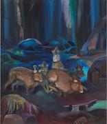 Nightly encounter, 2021, oil on linen, 140 x 120 cm