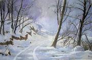 """""""Sentiero tra le nevi"""" Acquarello su carta - 40x60 -  2009 - Collezione privata"""