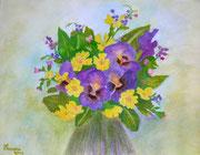 """""""Primule e Viole"""" Acquarello su carta - 40x60 - 2010"""