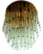 Large J.T KALMAR Multi-Tier Glass Rod Flush Mount Chandelier, 1965