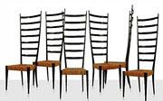 Set of Six GIO PONTI High Seatback Dining Chairs, Italy 1940s